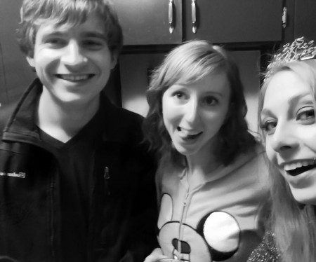 Evan Leikam (Autonomics), Lindsey Uhl, and I at the Halloween party.